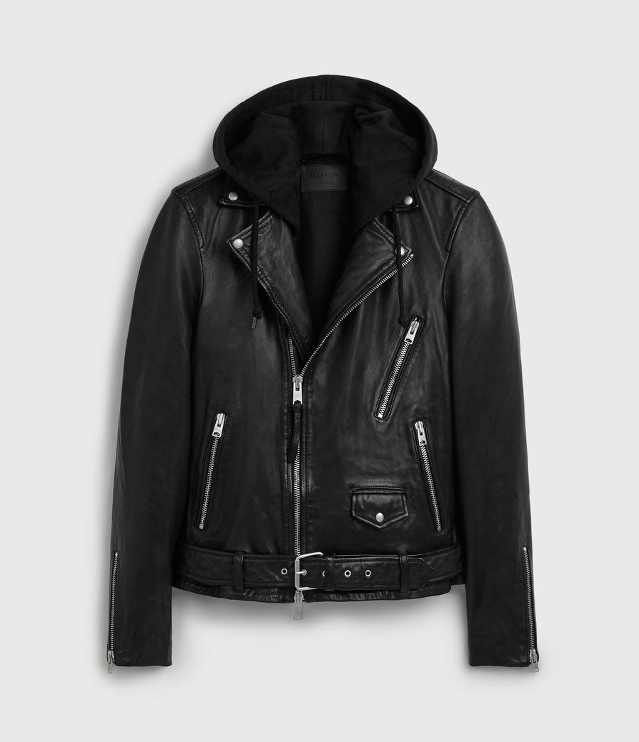 Men's Renzo Leather Biker Jacket (black) - Image 8