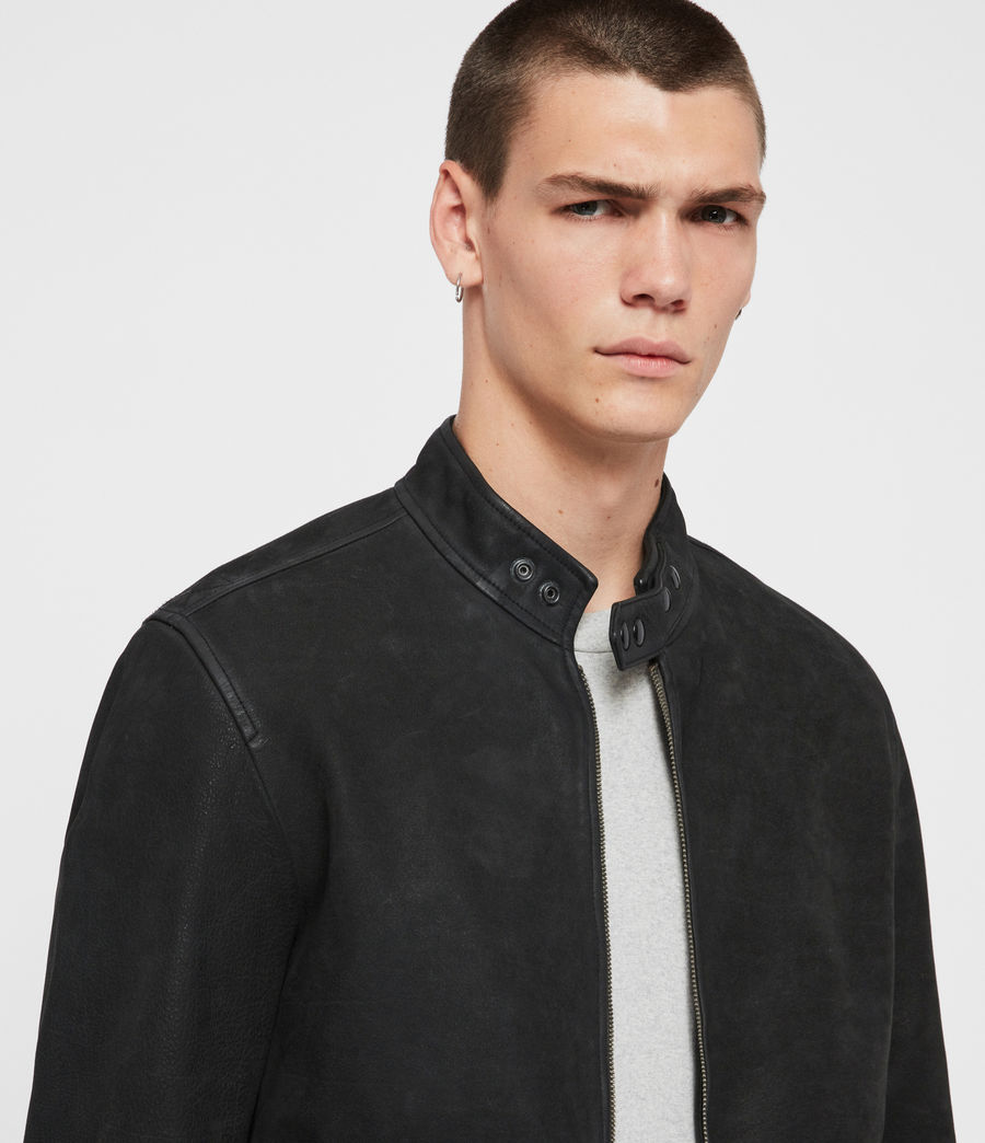 Mens Amhurst Leather Aviator Jacket (black) - Image 2