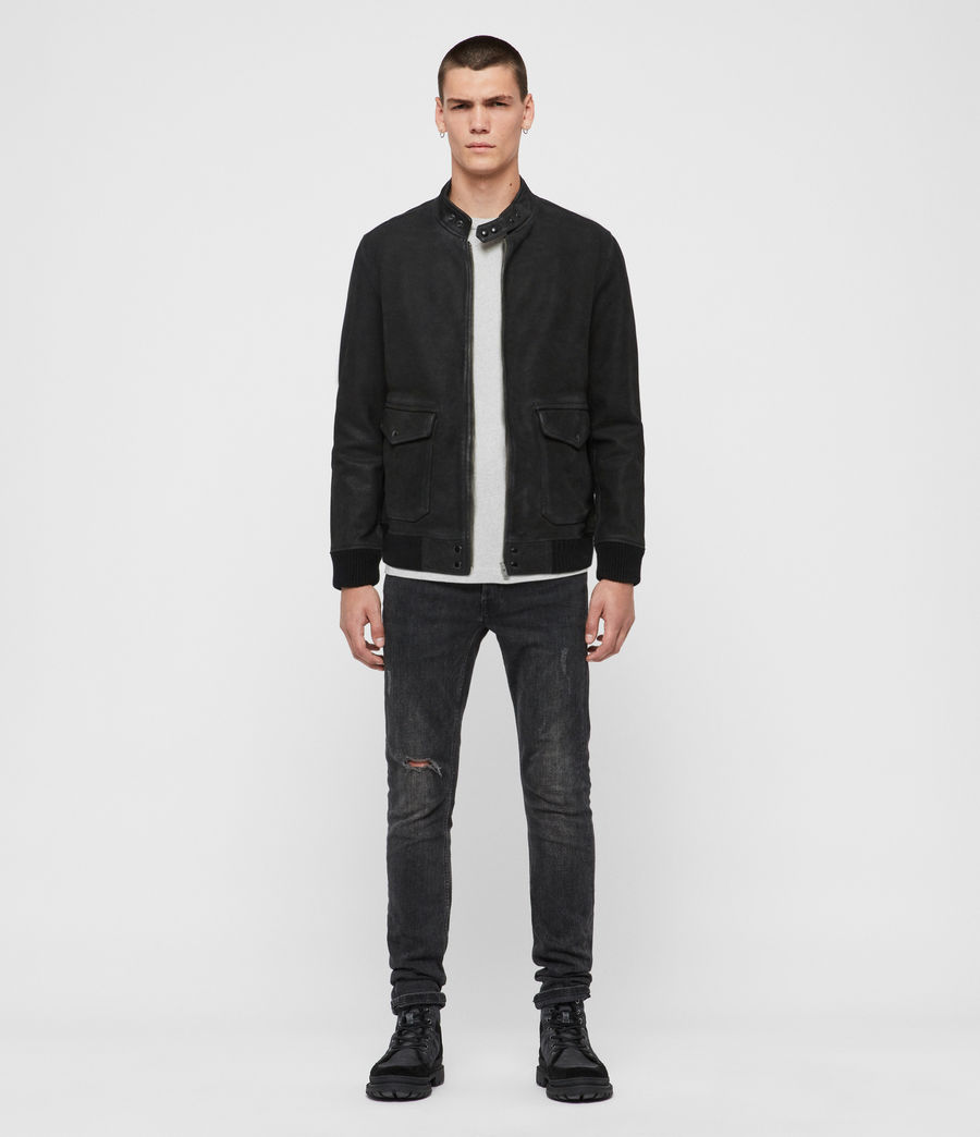 Mens Amhurst Leather Aviator Jacket (black) - Image 3