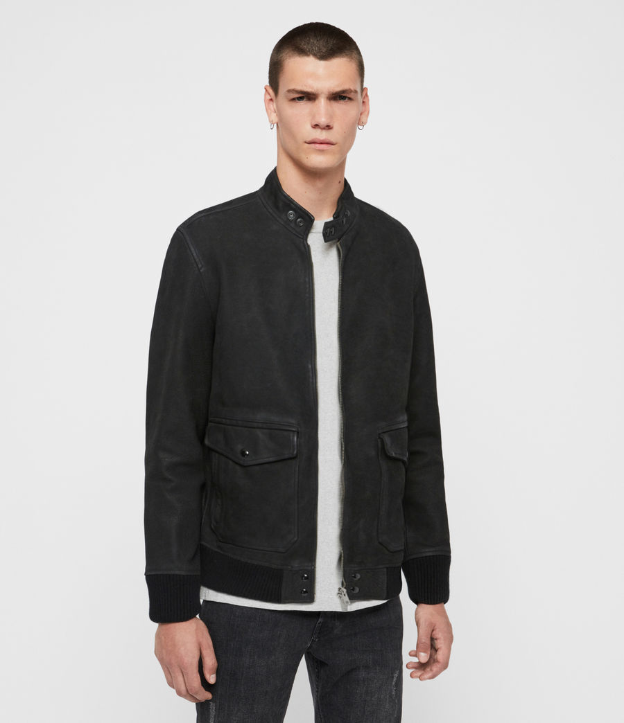 Mens Amhurst Leather Aviator Jacket (black) - Image 4