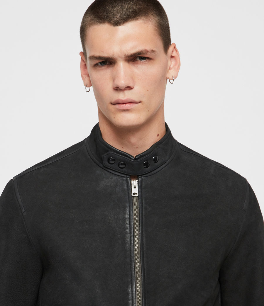 Mens Amhurst Leather Aviator Jacket (black) - Image 6