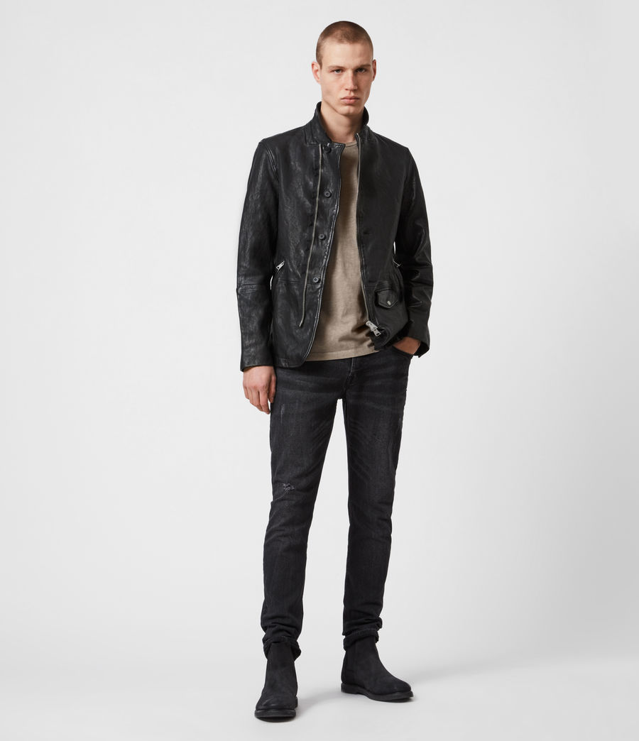 Men's Axel Leather Blazer (black) - Image 7