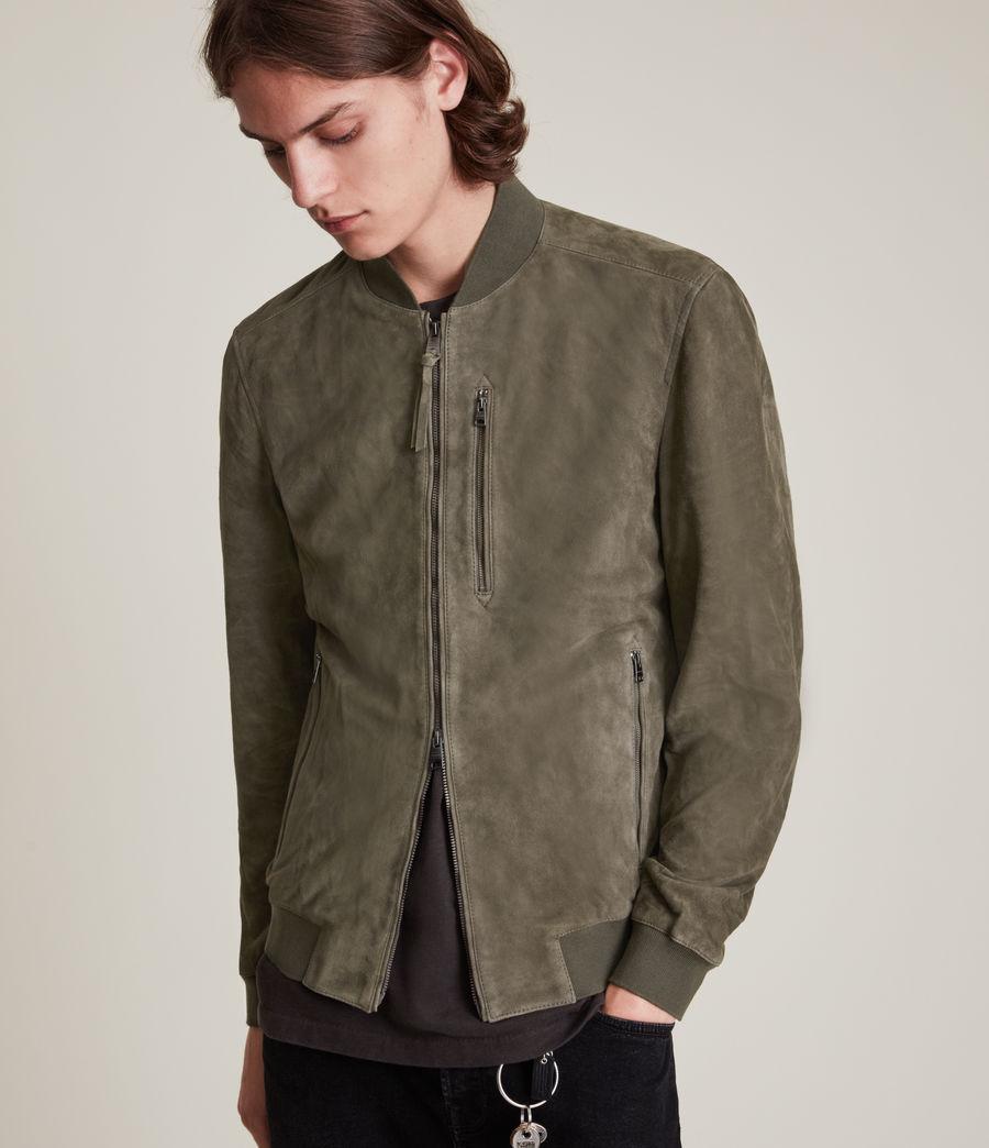 Men's Kemble Suede Bomber Jacket (khaki_green) - Image 2