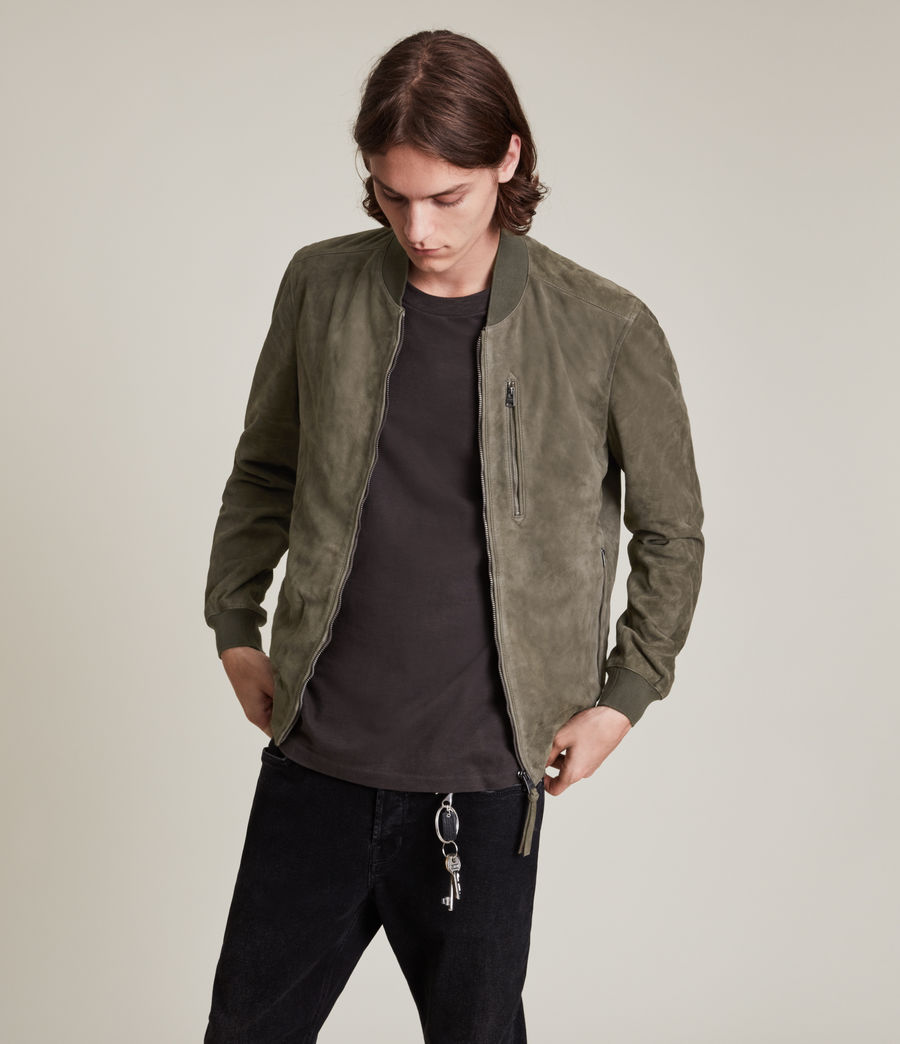 Men's Kemble Suede Bomber Jacket (khaki_green) - Image 4
