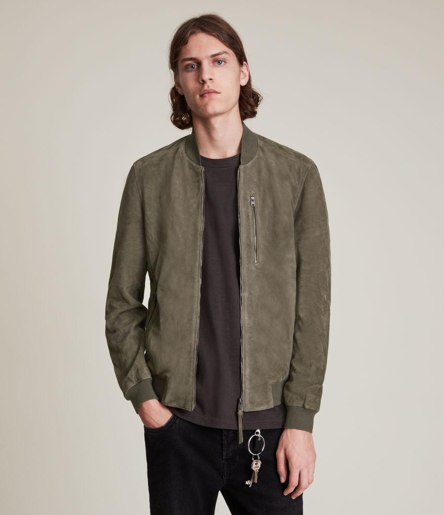 Men's Kemble Suede Bomber Jacket (khaki_green) - Image 5