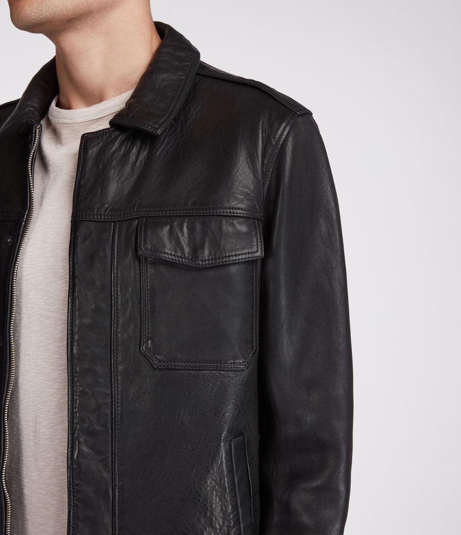 Men's Forum Leather Jacket (black) - Image 4
