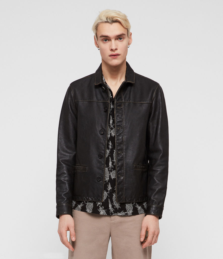 Mens Waver Leather Jacket (black) - Image 1