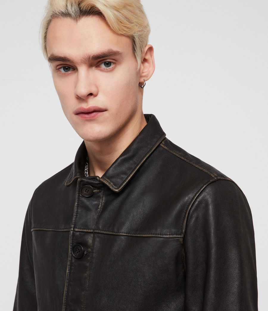 Mens Waver Leather Jacket (black) - Image 2
