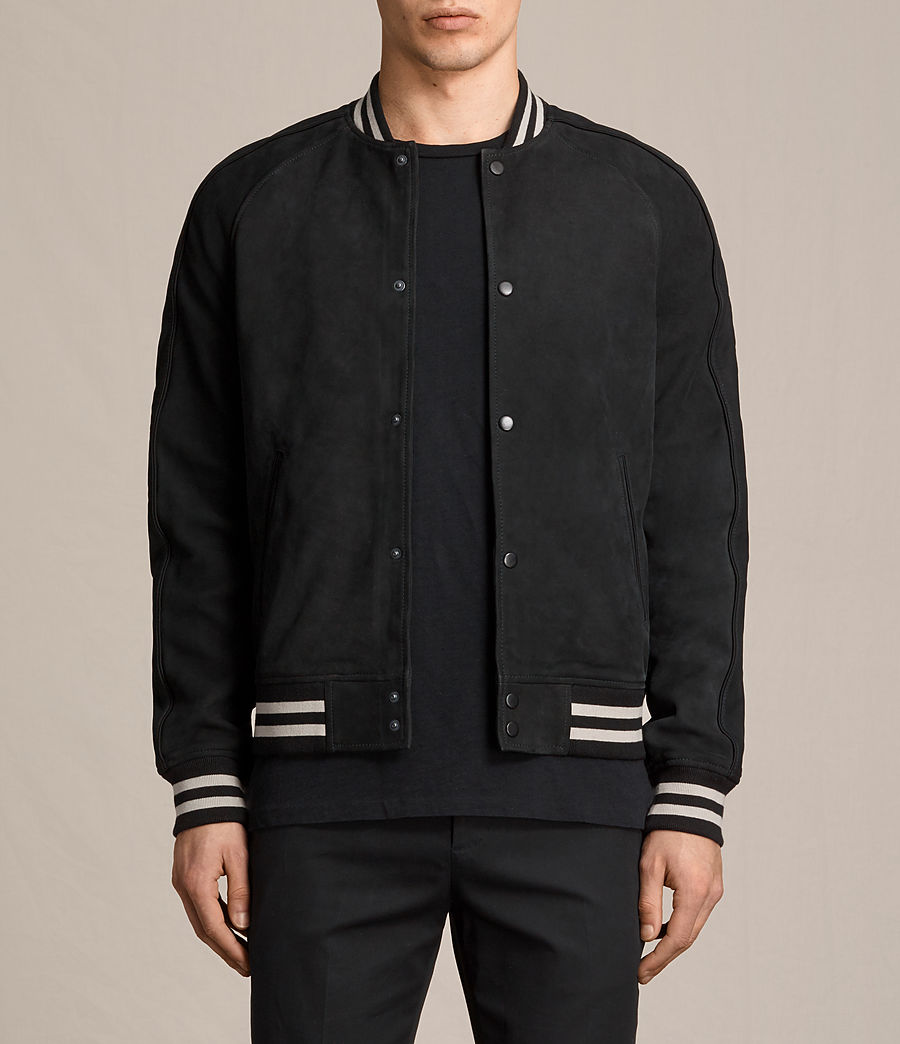 Mens Stanson Suede Bomber Jacket (ink_navy_black) - Image 2