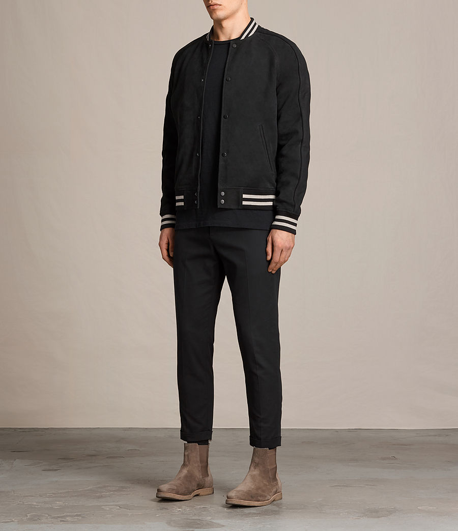 Mens Stanson Suede Bomber Jacket (ink_navy_black) - Image 3