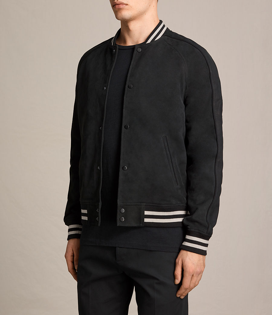 Mens Stanson Suede Bomber Jacket (ink_navy_black) - Image 4