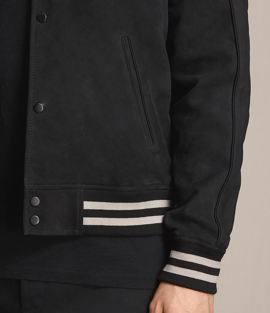 Mens Stanson Suede Bomber Jacket (ink_navy_black) - Image 5