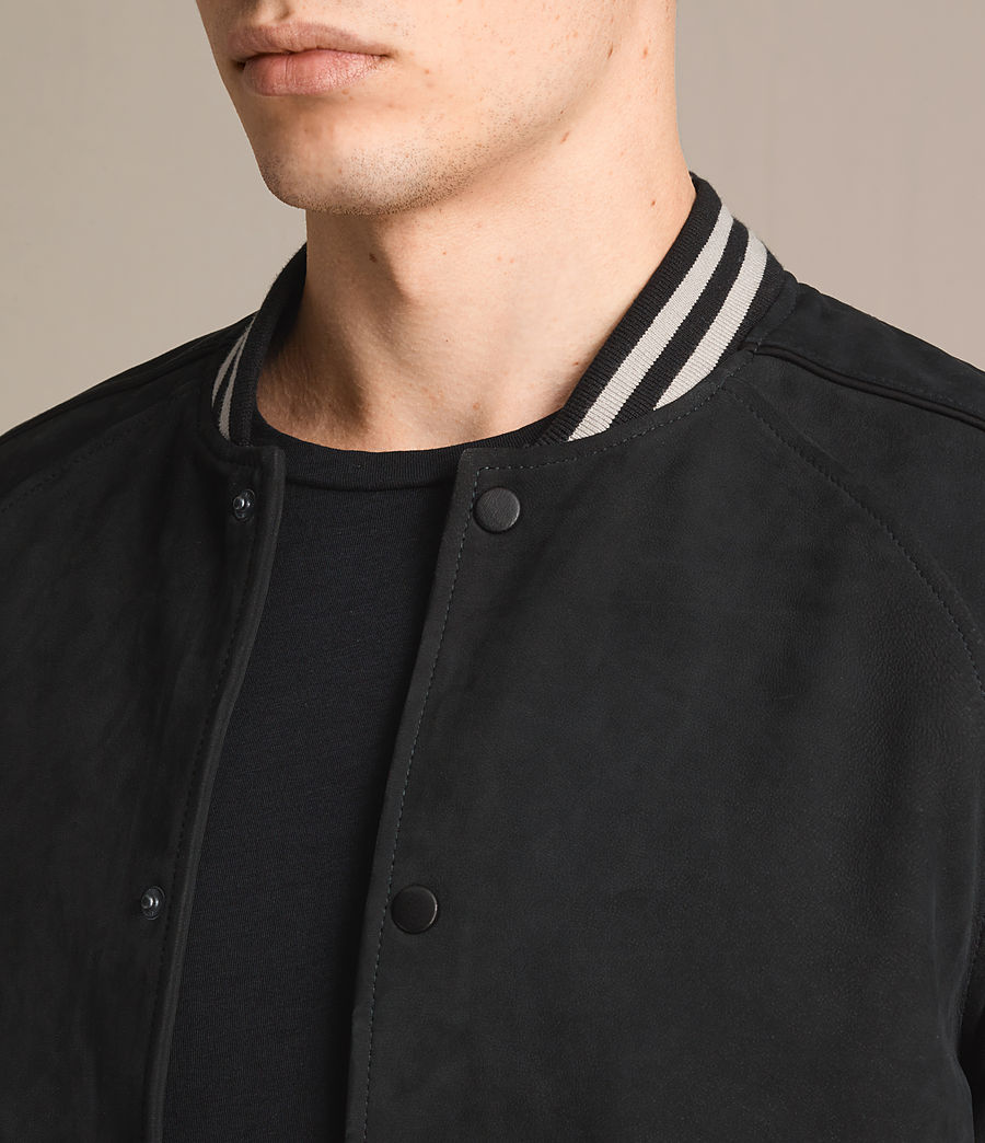 Mens Stanson Suede Bomber Jacket (ink_navy_black) - Image 6