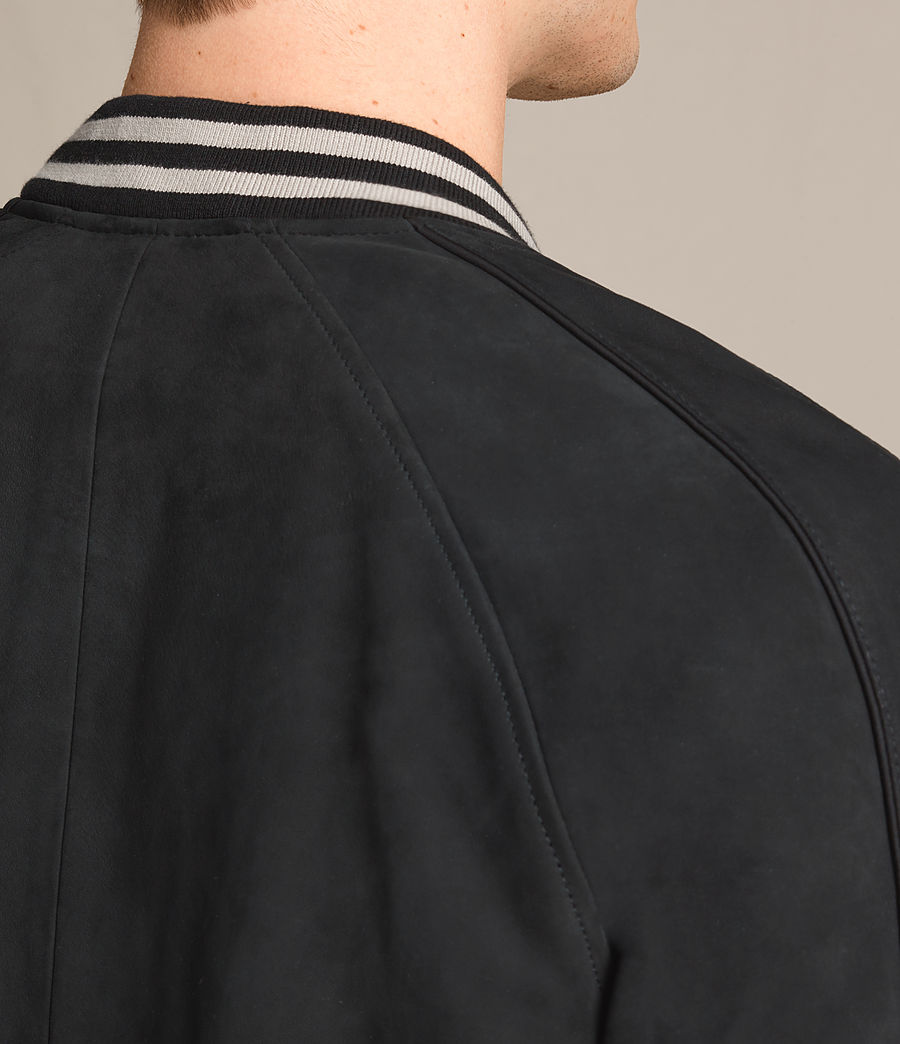 Mens Stanson Suede Bomber Jacket (ink_navy_black) - Image 7