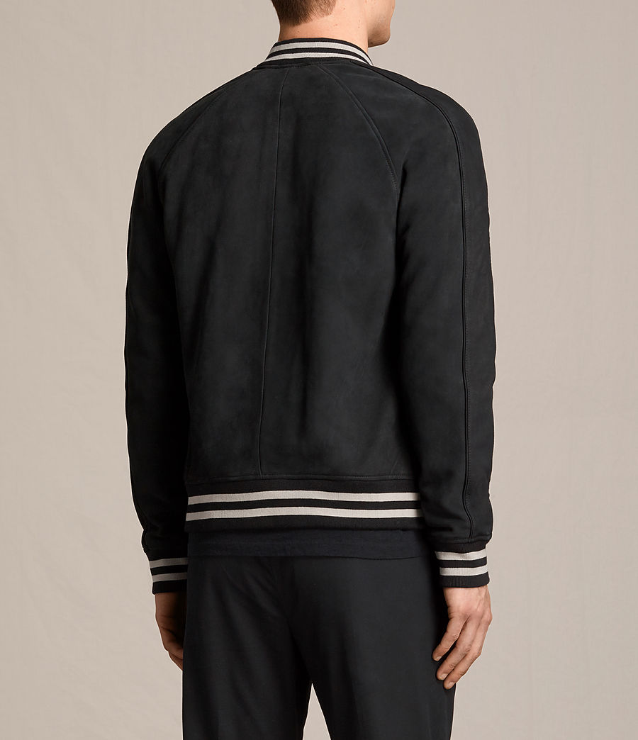 Mens Stanson Suede Bomber Jacket (ink_navy_black) - Image 8