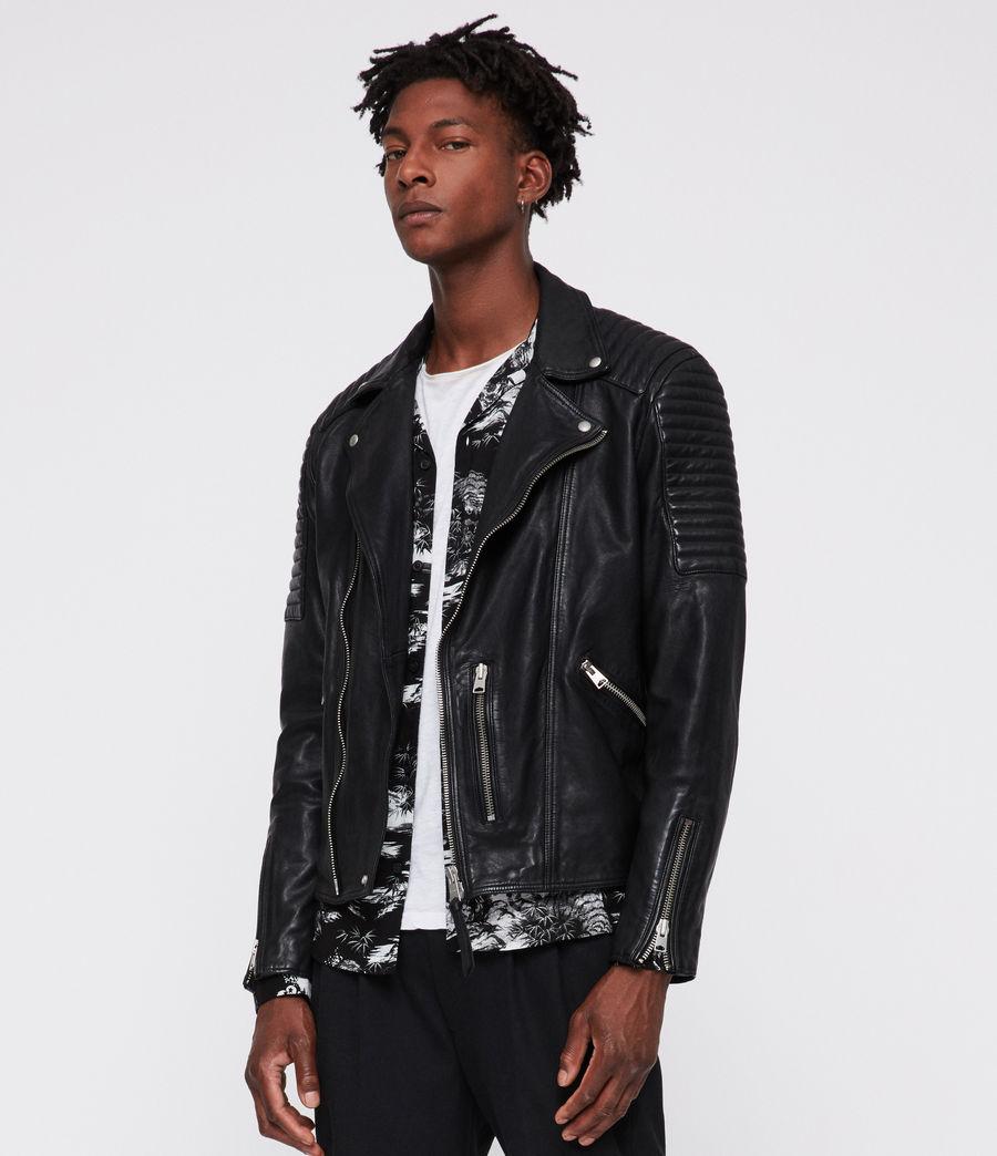 Men's Estello Leather Biker Jacket (black) - Image 1