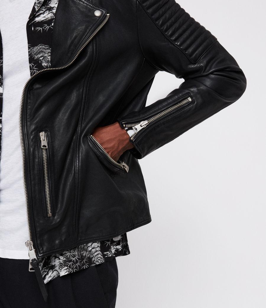 Men's Estello Leather Biker Jacket (black) - Image 2