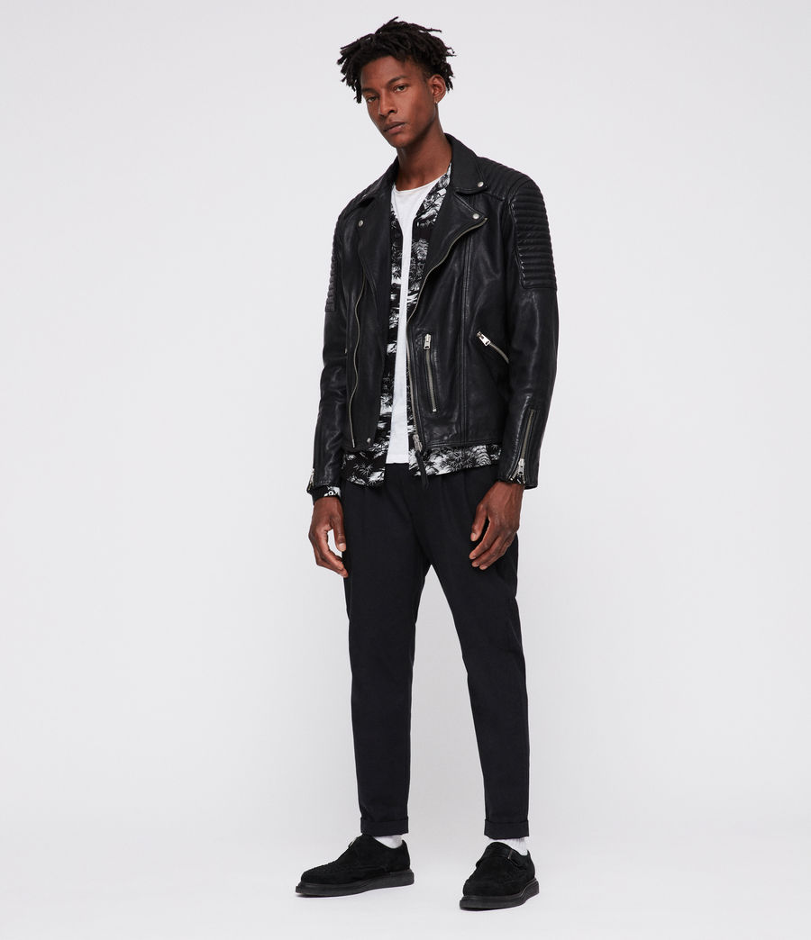 Men's Estello Leather Biker Jacket (black) - Image 3