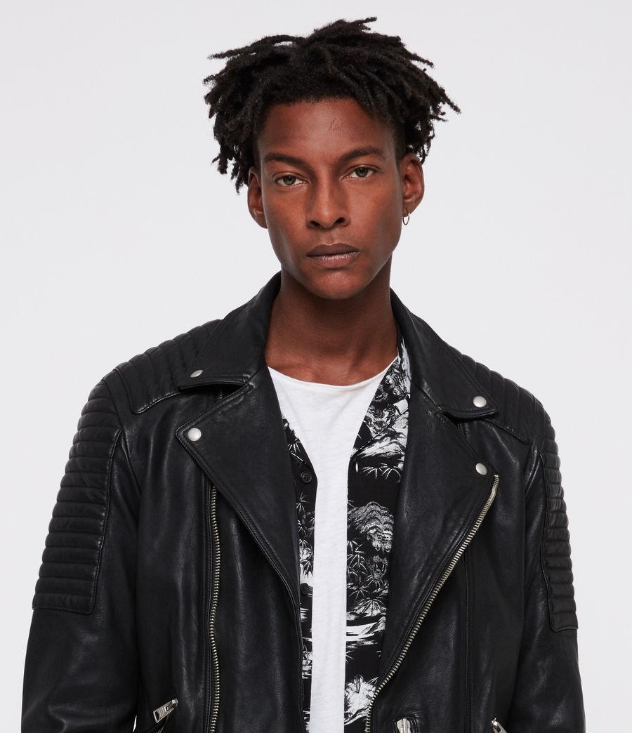 Men's Estello Leather Biker Jacket (black) - Image 4