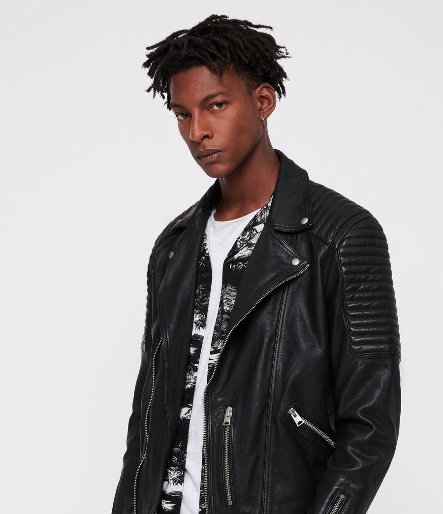 Men's Estello Leather Biker Jacket (black) - Image 5
