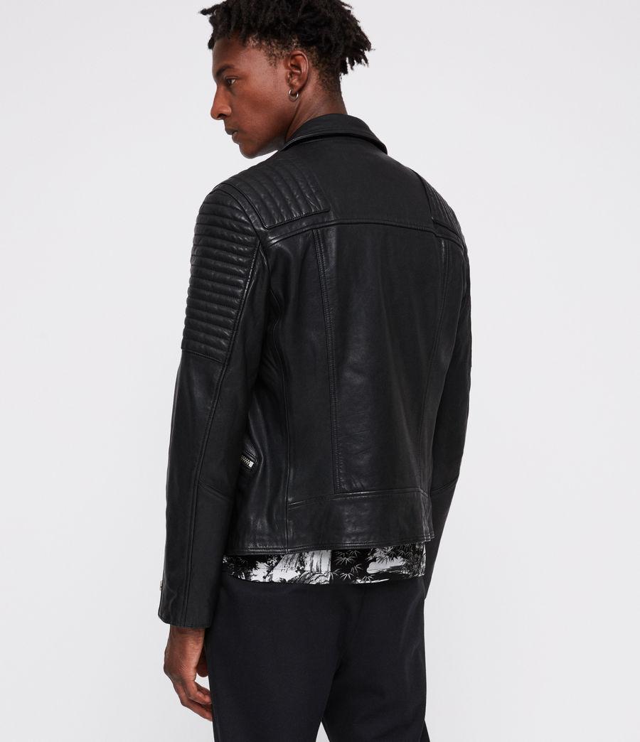 Men's Estello Leather Biker Jacket (black) - Image 6