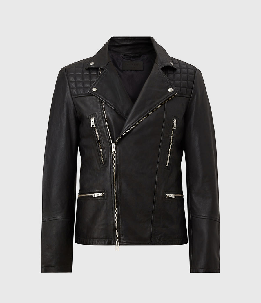 Men's Catch Leather Biker Jacket (black) - Image 1
