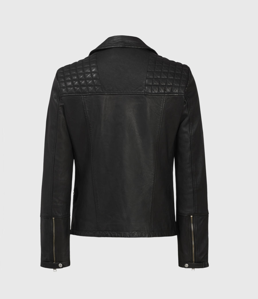 Men's Catch Leather Biker Jacket (black) - Image 2
