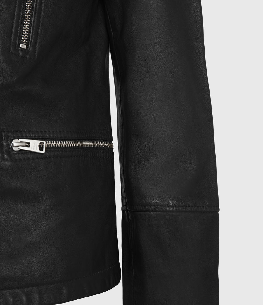 Men's Catch Leather Biker Jacket (black) - Image 4