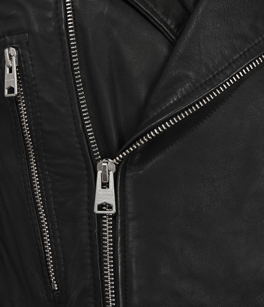 Men's Catch Leather Biker Jacket (black) - Image 5