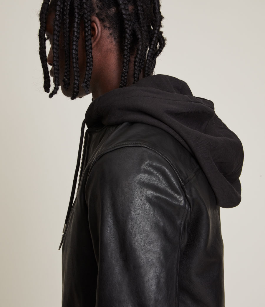 Mens Harwood Leather Biker Jacket (black) - Image 2