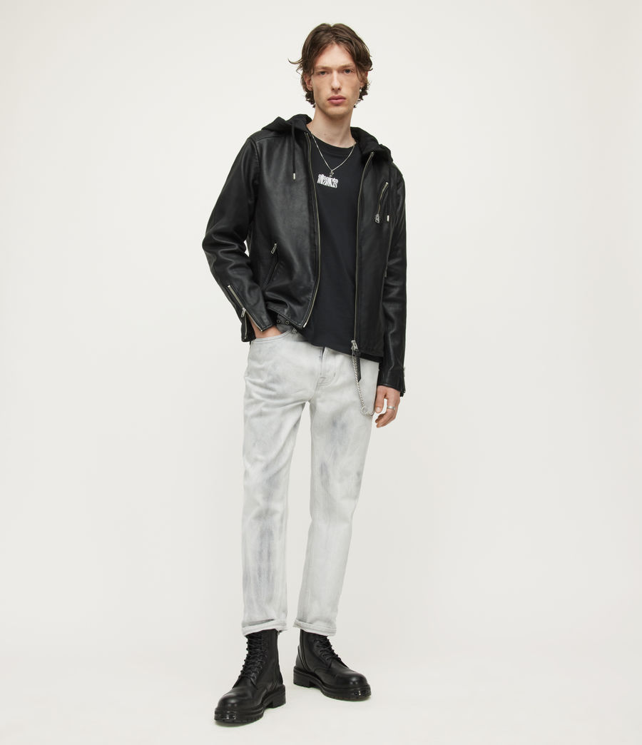 Mens Harwood Leather Biker Jacket (black) - Image 3