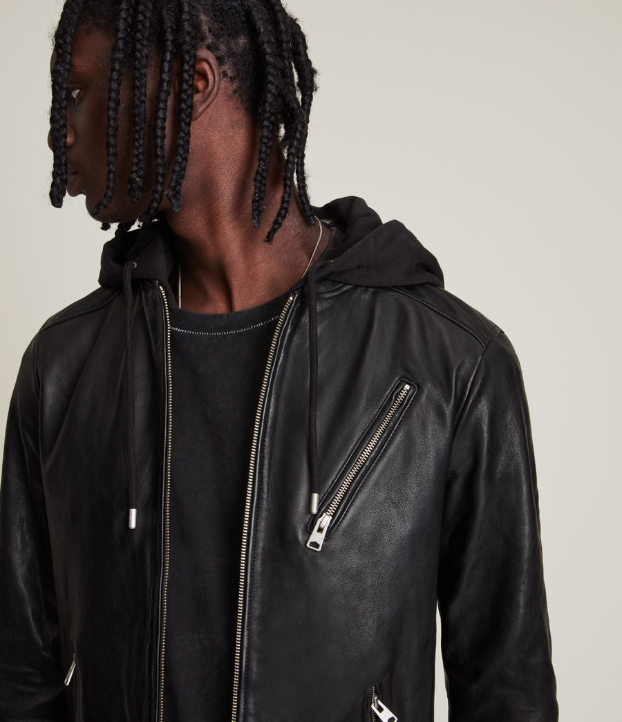 Men's Harwood Leather Biker Jacket (black) - Image 3