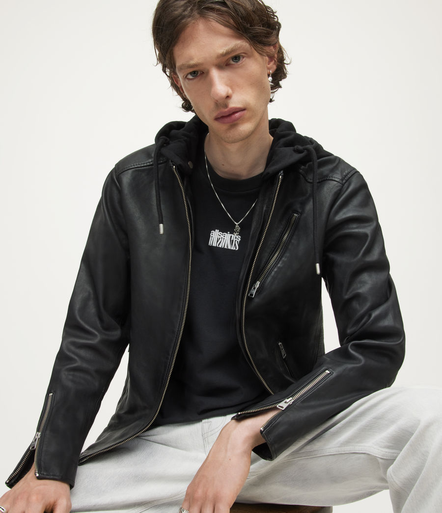 Mens Harwood Leather Biker Jacket (black) - Image 5