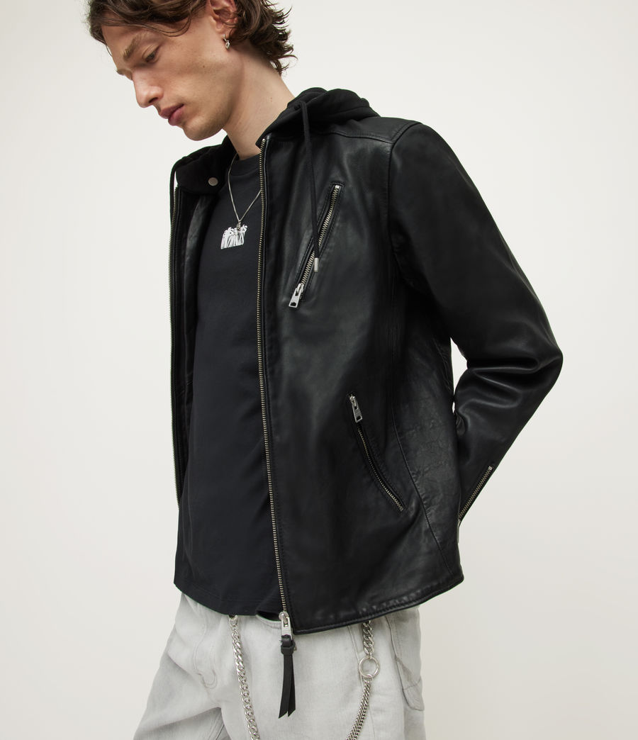 Mens Harwood Leather Biker Jacket (black) - Image 6