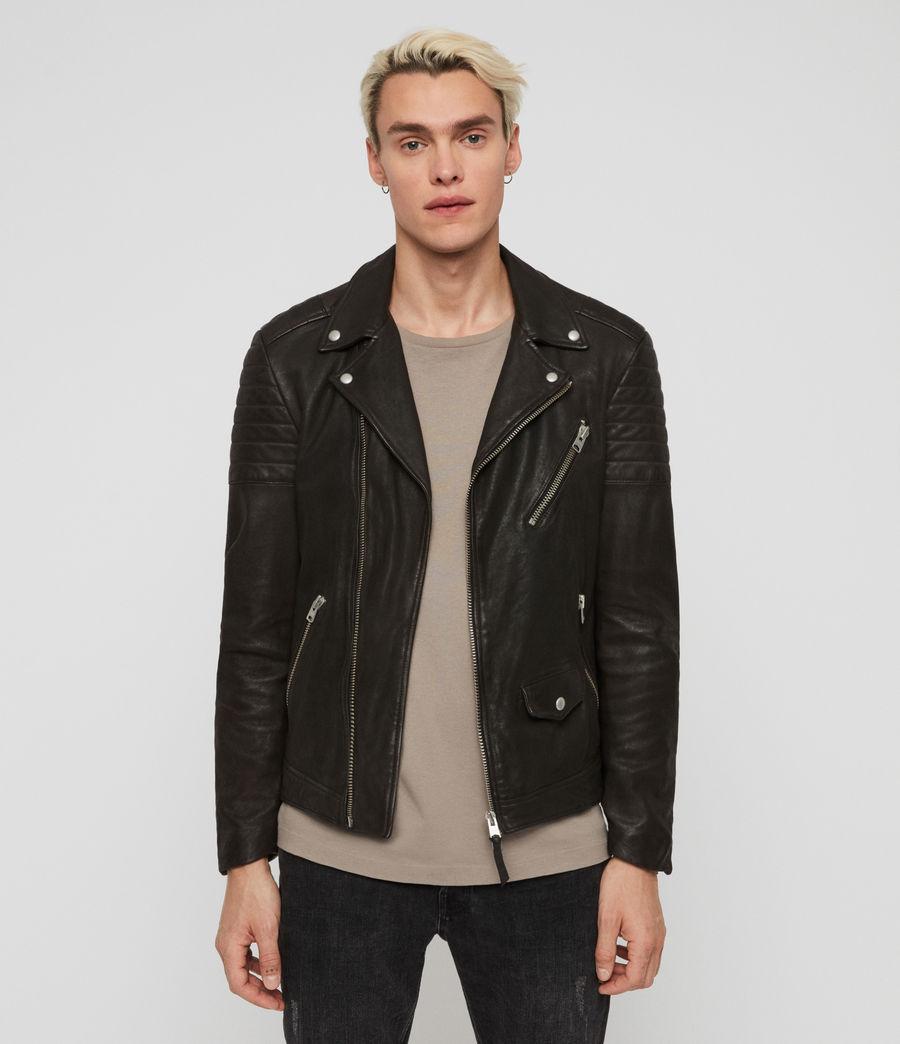 Mens Leo Leather Biker Jacket (anthracite) - Image 1