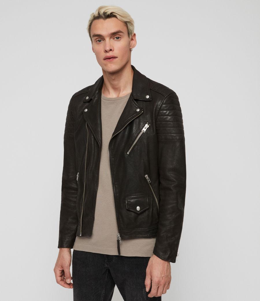 Mens Leo Leather Biker Jacket (anthracite) - Image 2