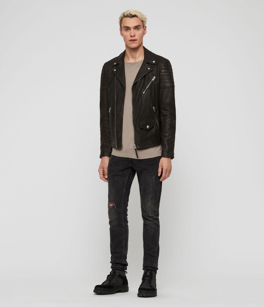 Mens Leo Leather Biker Jacket (anthracite) - Image 3