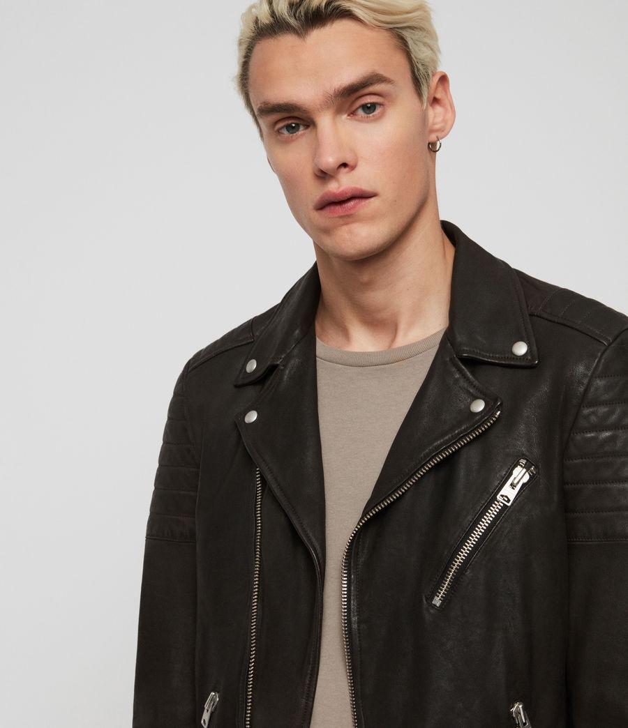 Mens Leo Leather Biker Jacket (anthracite) - Image 4