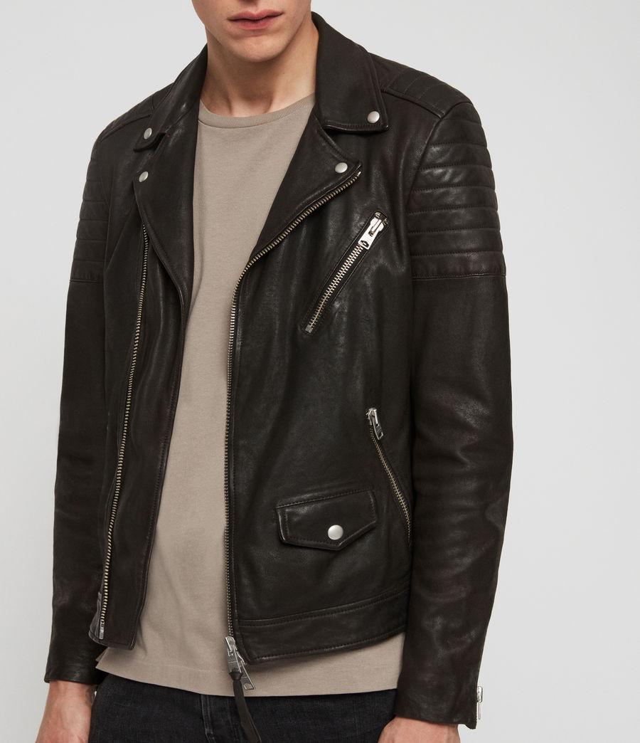 Mens Leo Leather Biker Jacket (anthracite) - Image 5