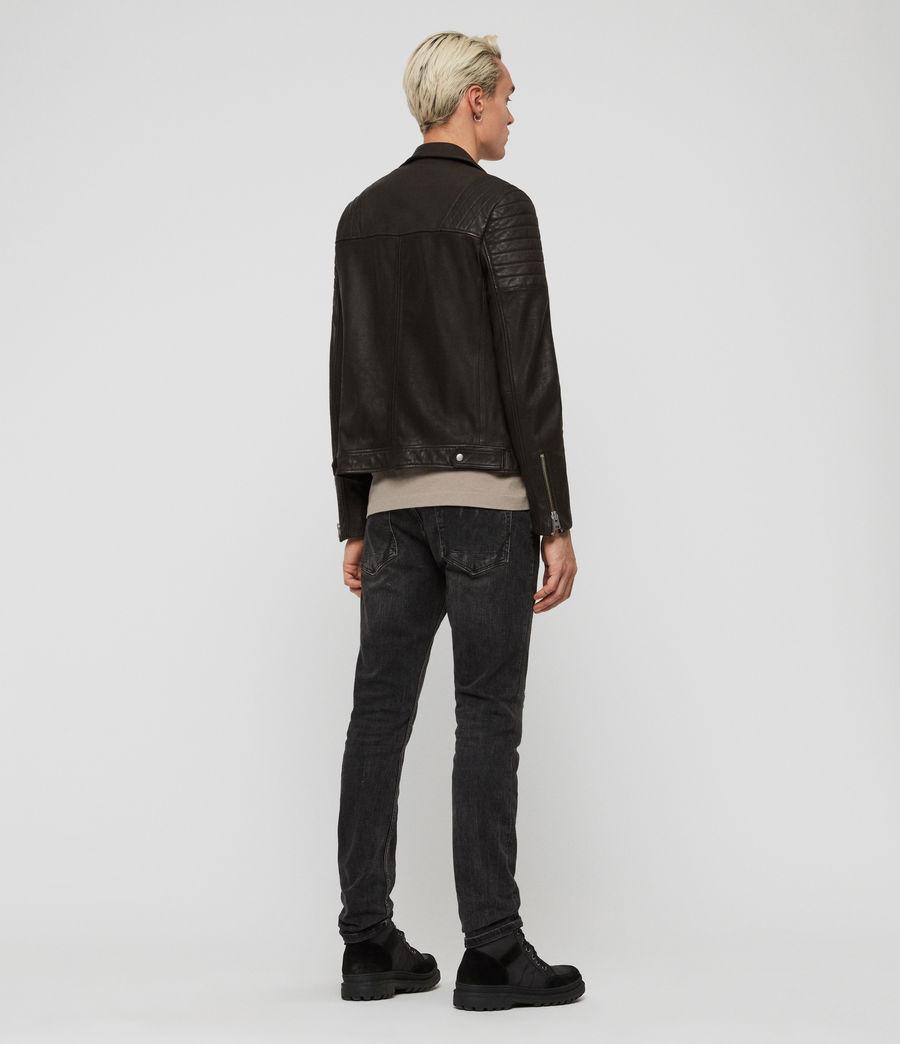 Mens Leo Leather Biker Jacket (anthracite) - Image 6