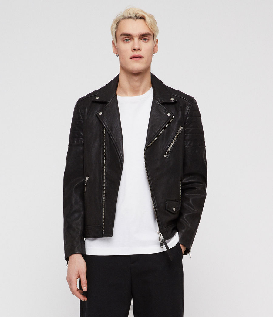 Men's Leo Leather Biker Jacket (black) - Image 1