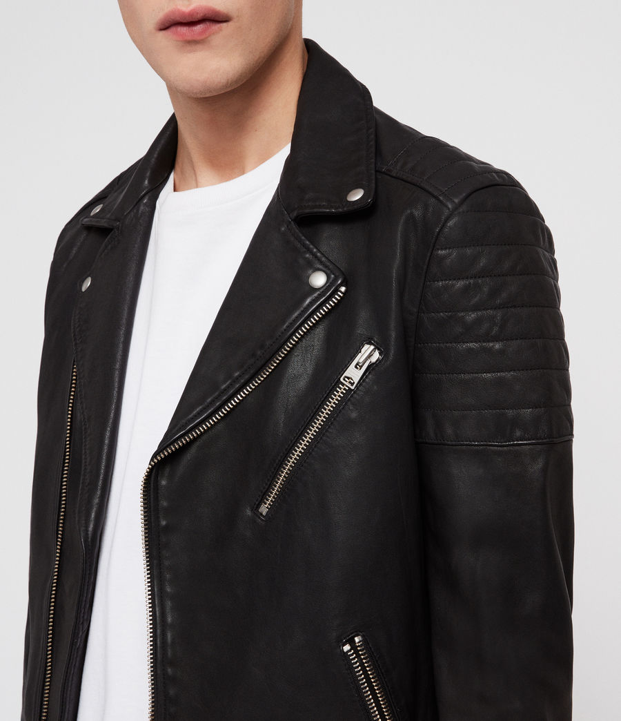 Men's Leo Leather Biker Jacket (black) - Image 2