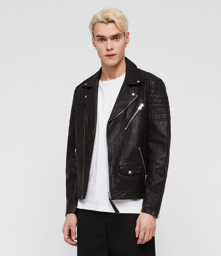 Men's Leo Leather Biker Jacket (black) - Image 3