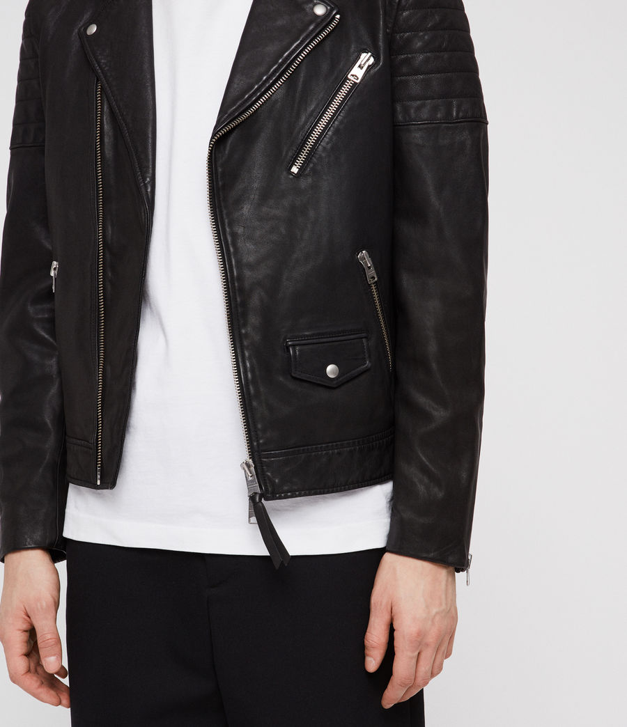 Men's Leo Leather Biker Jacket (black) - Image 5