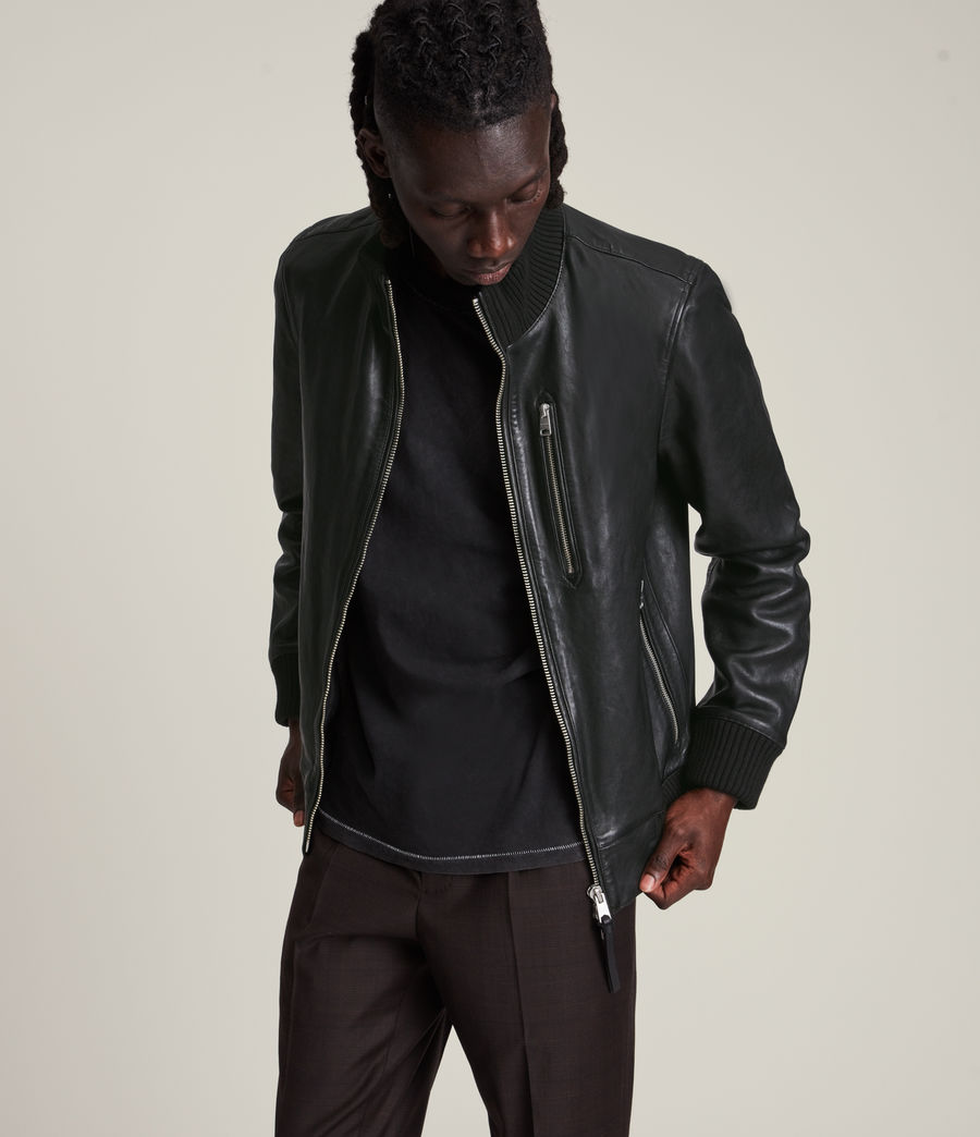 Herren Bick Leather Bomber Jacket (black) - Image 1