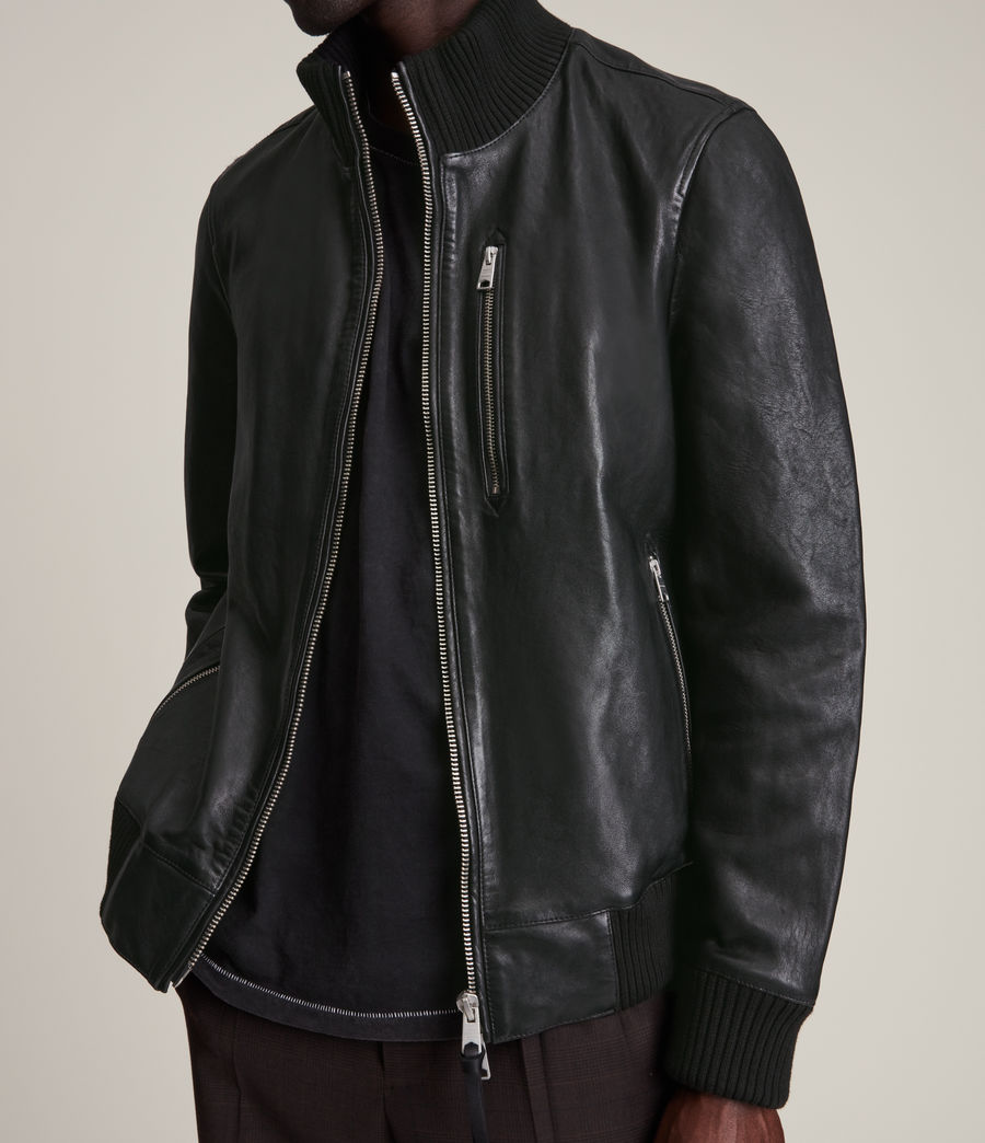 Herren Bick Leather Bomber Jacket (black) - Image 2