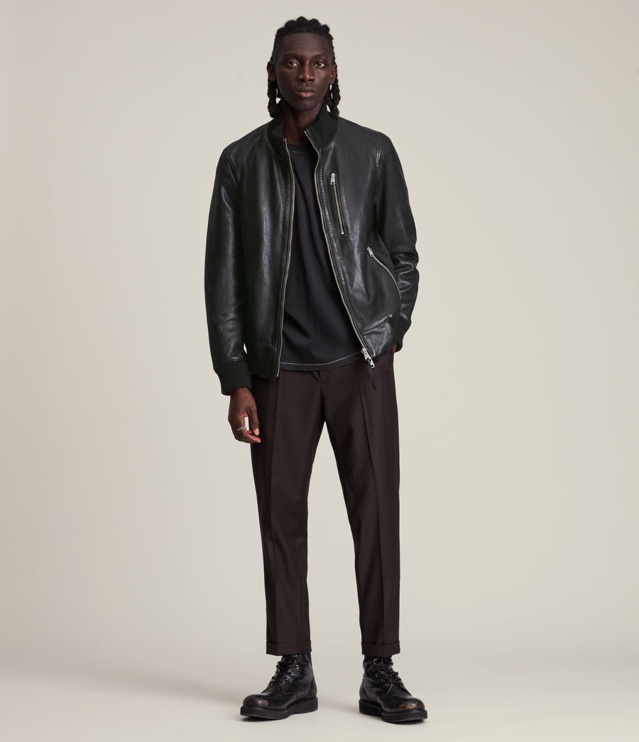 Herren Bick Leather Bomber Jacket (black) - Image 3