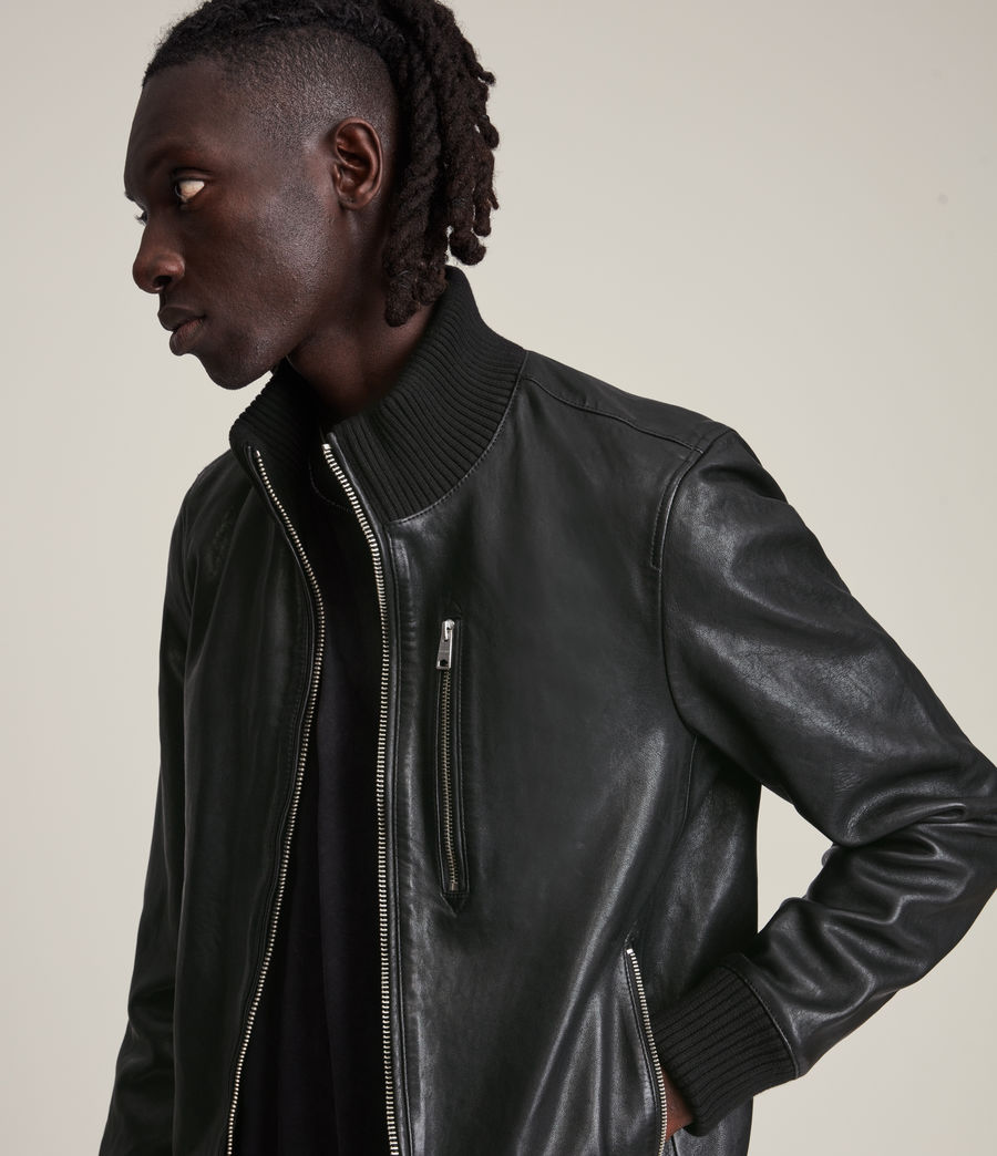 Herren Bick Leather Bomber Jacket (black) - Image 4