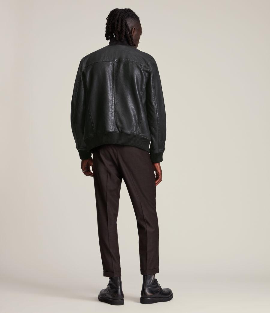 Herren Bick Leather Bomber Jacket (black) - Image 5
