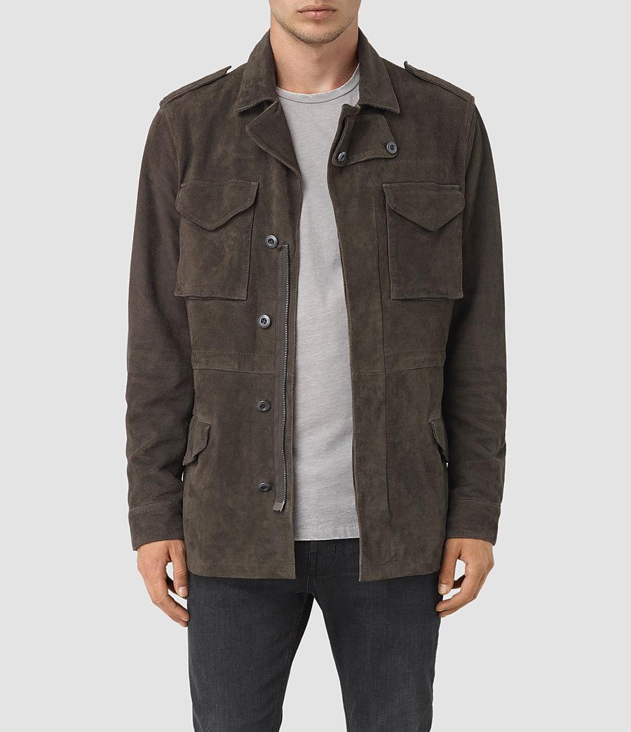 Mens Forter Suede Jacket (dark_khaki_green) - Image 1